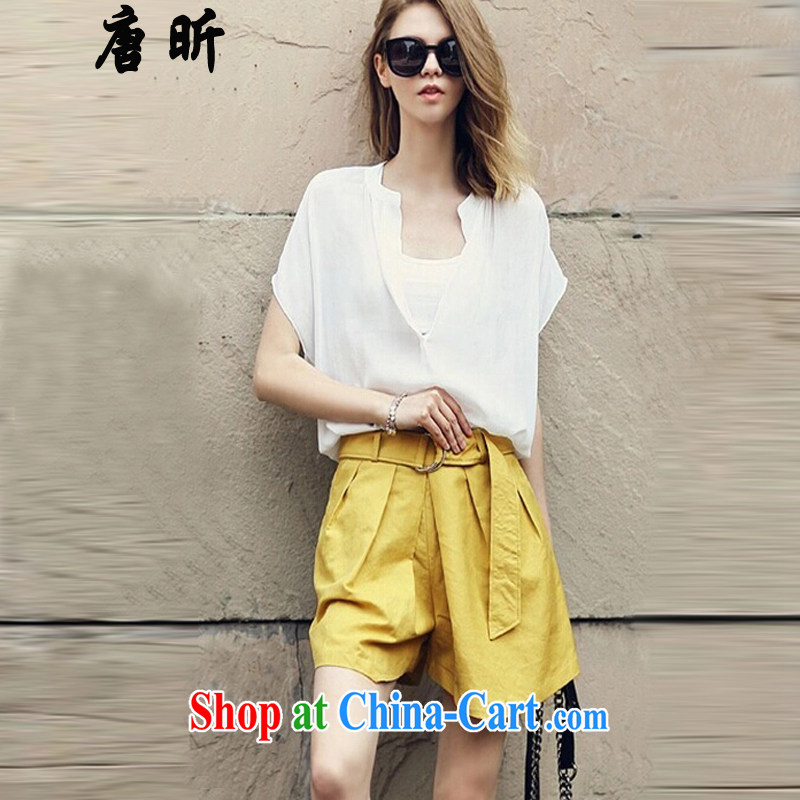 Tang year 2015 the United States and Europe, female summer new short-sleeved snow woven shirts loose two-piece white + Yellow_L 8111 XL 3 150 - 160 about Jack