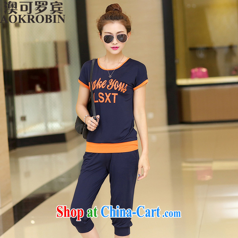 Australia, Robin larger women 2015 summer new leisure T-shirt girls short sleeve with dark blue 4 XL (145 - 155 ) jack