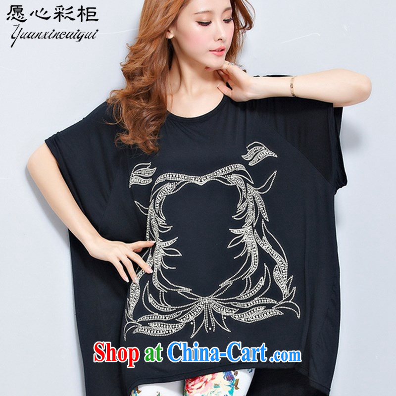 would like to heart Color cabinet 2015 summer Korean female bat T-shirt loose larger female, long stylish stamp short-sleeved large T pension DT black are code