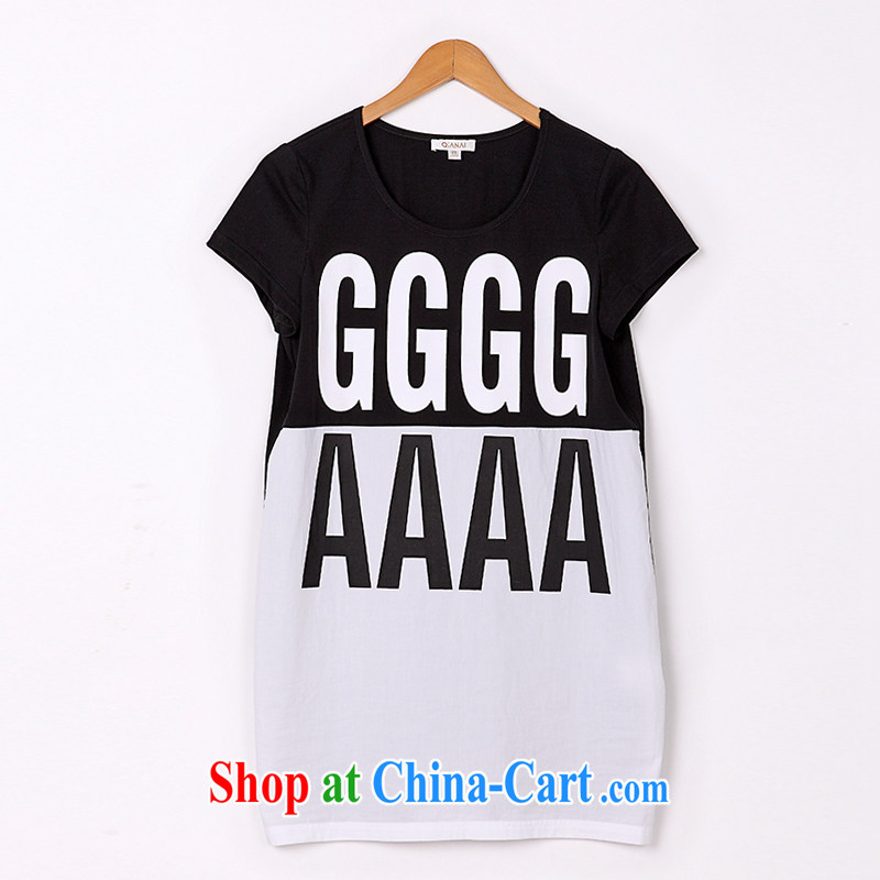 The Constitution is the female 2015 summer new mm thick and fat and loose letter stamp long T pension 2637 black with white 108/3 XL, constitution, QIAN AI), shopping on the Internet