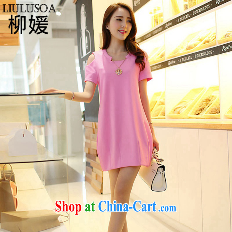 Yu Yuan mm thick King and indeed XL female summer 200 Jack thick sister dresses video thin short-sleeve T-shirt girls pink XXXXL