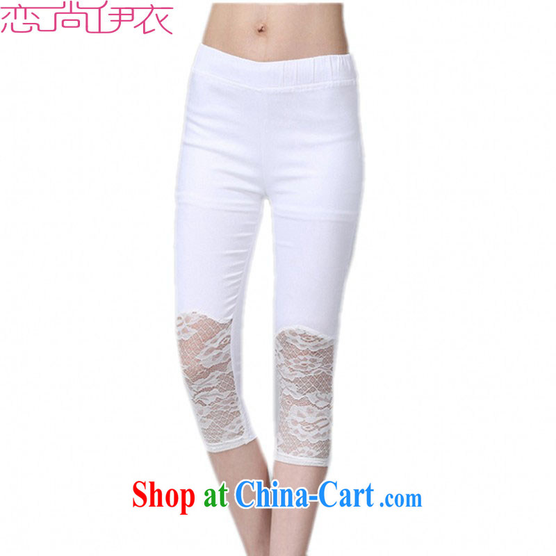 The delivery package as soon as possible the XL female 7 pants OL graphics thin tight aggressive Beauty Salon solid white lace pants in thick mm thin summer trousers white XXL