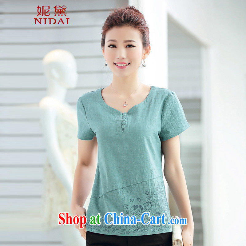 Connie Diane 2015 summer on the new larger female female T shirt MB 9823 water blue 3 XL
