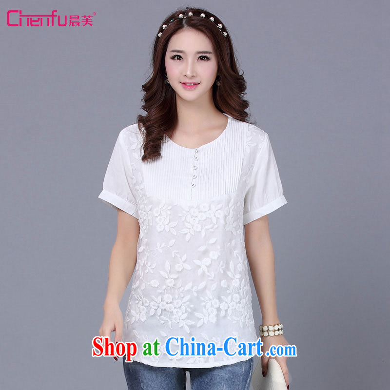 Morning would be 2015 summer new Korean version is indeed the XL female fat sister beauty graphics thin knocked color lace stitching lace cotton Ma T shirt T-shirt m White 5 XL