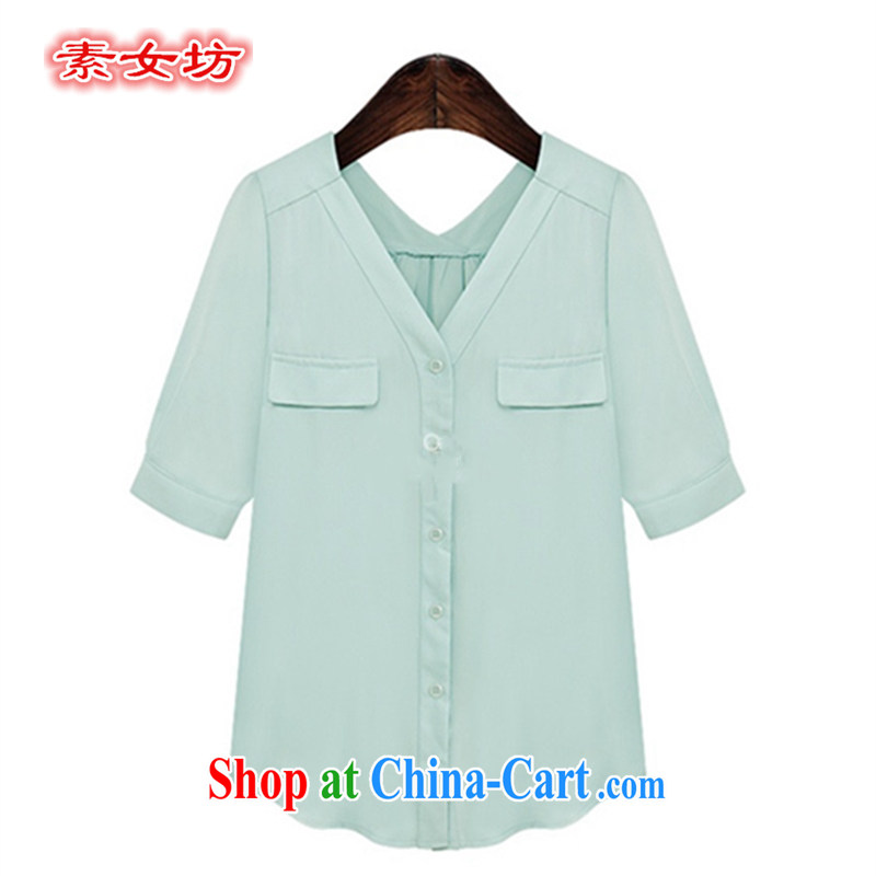 Pixel girl workshop summer 2015 new the FAT and FAT sister dress 200 jack can be inserted through the Code women V high collar snow woven shirts fabric 887 light green XL