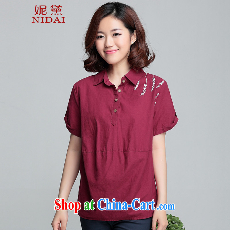 Connie Diane 2015 summer on the new larger female female shirt XH 9357 maroon 3XL
