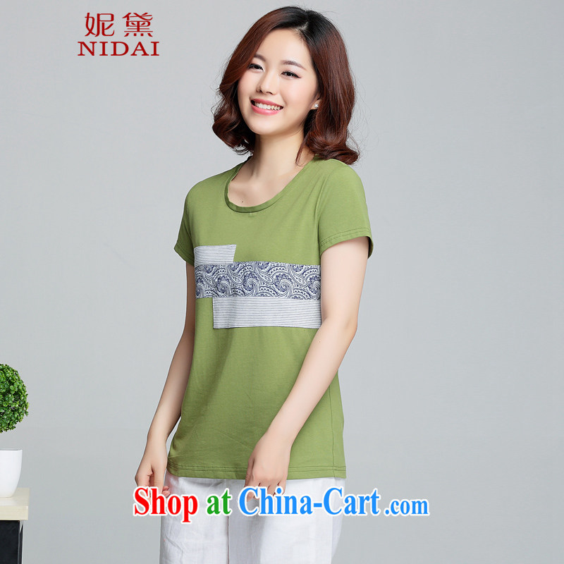 Connie Diane 2015 summer on the new larger female female T shirt XH 9375 Yulu Zirun Hemiaozhuang green 4 XL