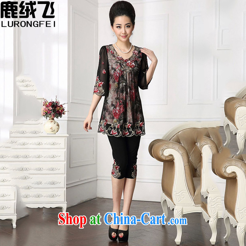 Lint-free cloth, a middle-aged mother's day spring loaded mother snow woven shirts leave of two short-sleeved 40 - 50 middle-aged and older women summer 6005 photo color XXXXL