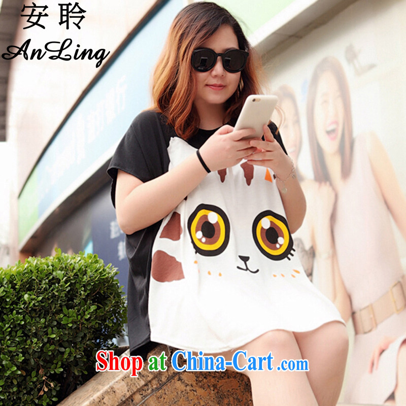 The Hearing 200 Jack the code t-shirts big cats face thick sister short-sleeve female students t-shirt 2015 summer loose video thin T shirt black apricot are code