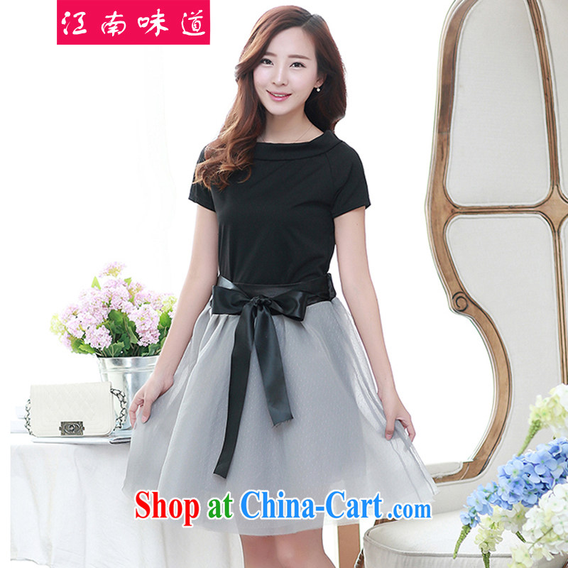 Gangnam taste thick, graphics thin, summer Korean version of the new, larger female snow-woven dresses thick sister summer leisure short-sleeve T-shirt + shaggy skirts 348 black 3 XL recommendations 140 - 160 jack