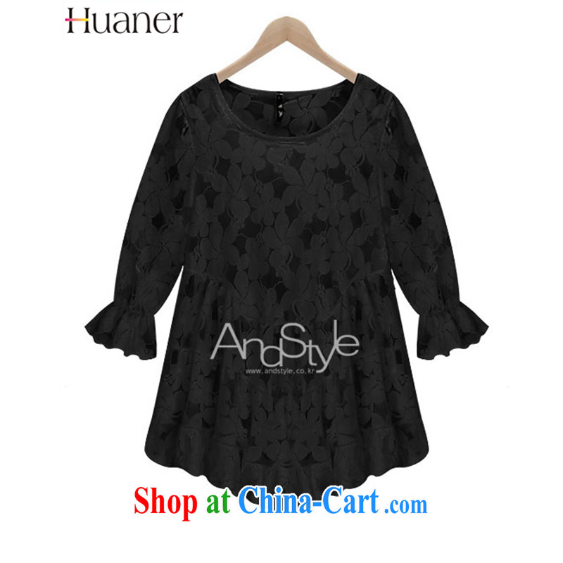 2015 HUANER larger female summer new European wind loose lace Openwork snow solid woven shirt petal sleeveless girls black 3 XL