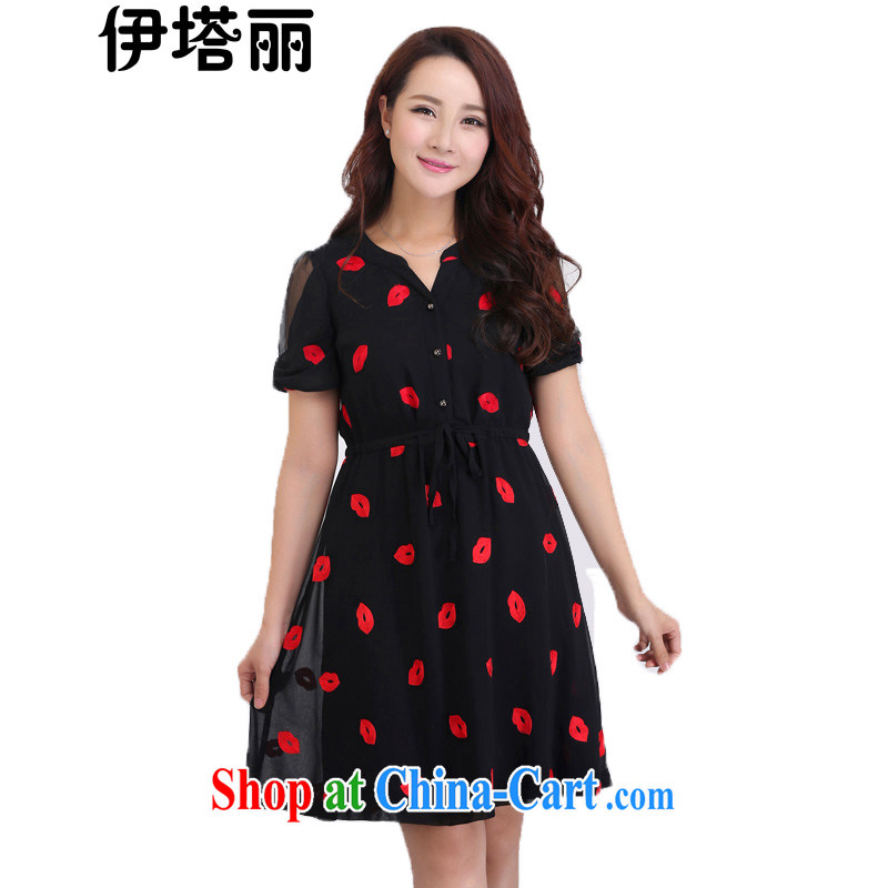 The Lai 2015 summer new, larger female and indeed increase graphics thin, thick sister leisure black red lips stamp snow woven short-sleeved dress 5008 black red lips stamp 6XL recommendations 185 - 210 jack
