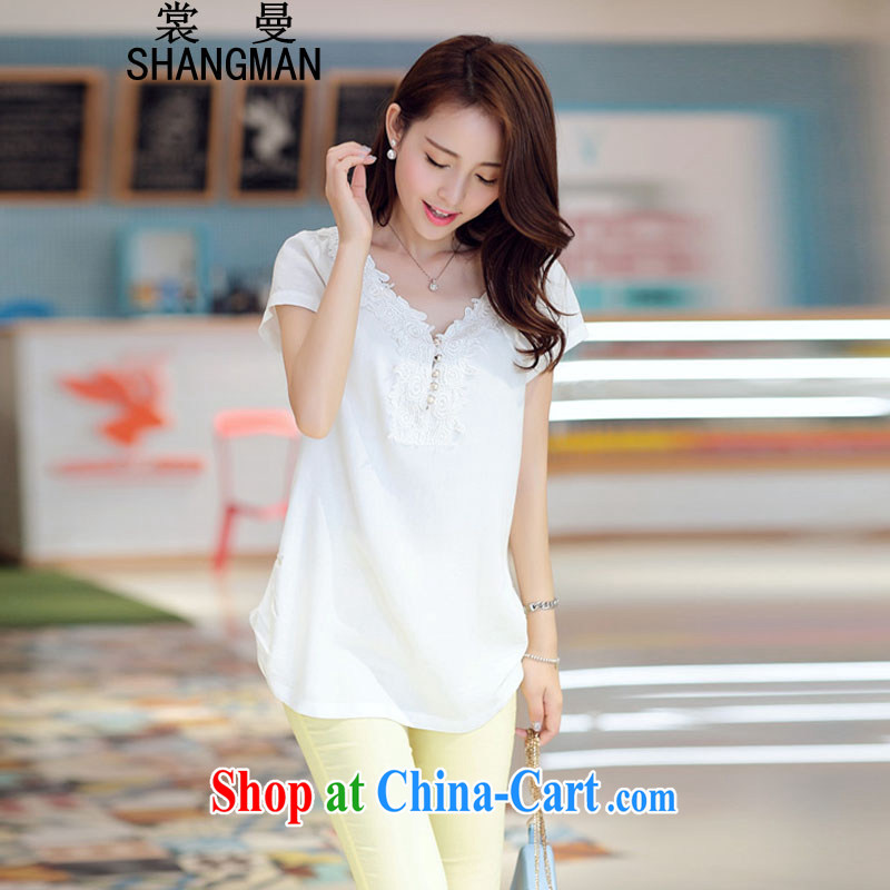Advisory Committee Cayman 2015 summer new V-neck short-sleeve T-shirt Han version loose the code units in the long T-shirt white XXL