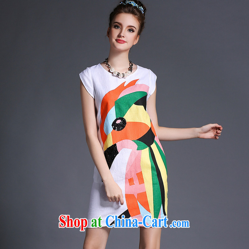 The cotton dress summer 2015 New Europe, larger female long Graphics thin white 5XL _90 - 100 _ KG