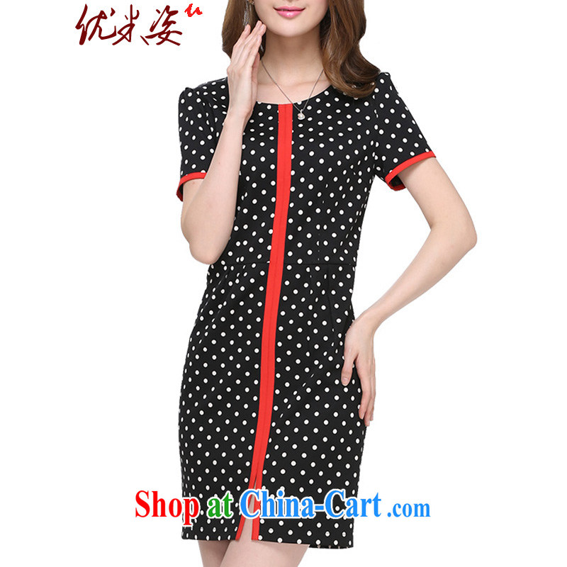 Optimize m Beauty package mail delivery and indeed XL female thick mm summer 200 Jack thick sister spring 2015 New Wave point video thin dress black 2 XL for 125 - 145 jack