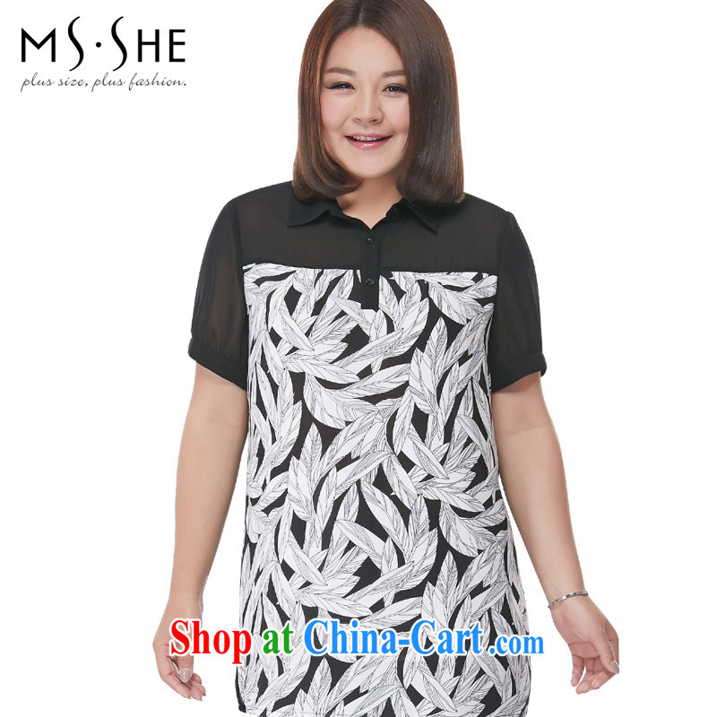 MSSHE XL female snow woven shirts 2015 summer new expertise in SISTER long T-shirt lapel stitching stamp snow woven shirts 4337 black 3 XL