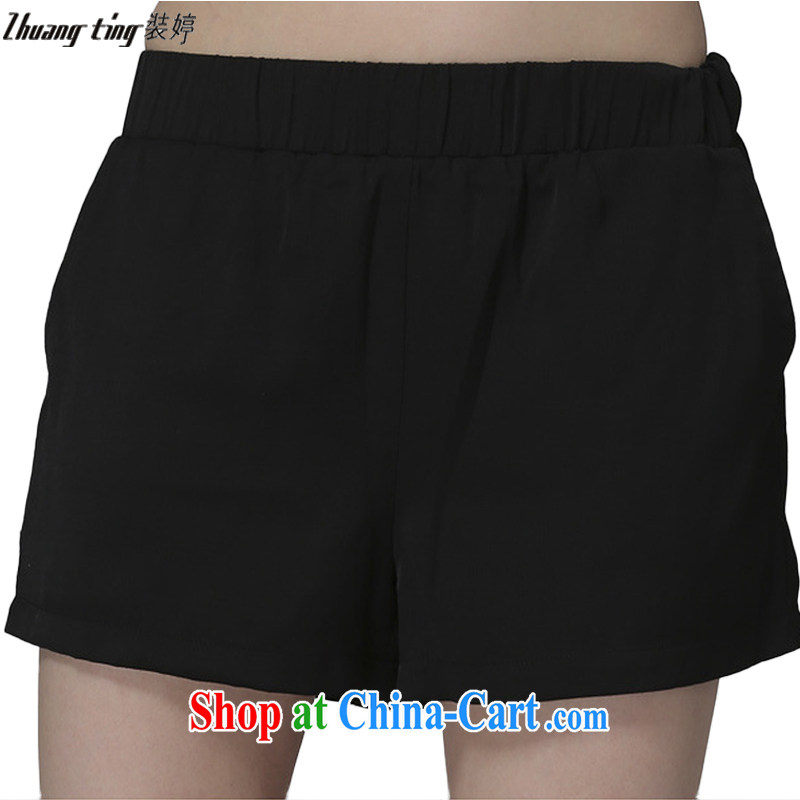 The Ting zhuangting summer 2015 the Code women mm thick graphics thin minimalist silk The relaxed casual shorts 008 black 5 XL