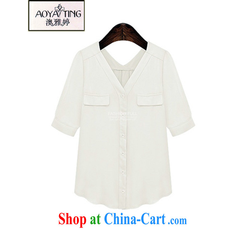 o Ya-ting 2015 New, and indeed increase, female summer thick girls with graphics thin V collar shirt T-shirt summer white 5 XL recommends that you 175 - 200 jack