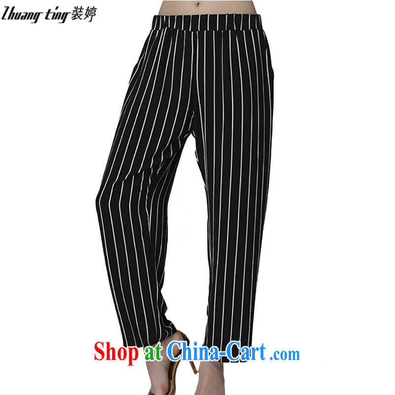 The Ting zhuangting summer 2015 new thick mm larger female black-and-white striped casual relaxed high-waist 9 pants B 009 black-and-white stripes 4 XL