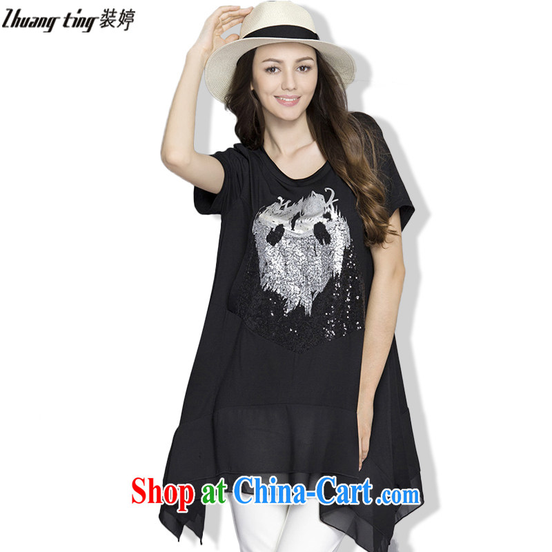 The Ting zhuangting 2015 summer leisure in Europe and larger female lace beauty snow woven A Field stamp short-sleeved dresses 216 black 5 XL