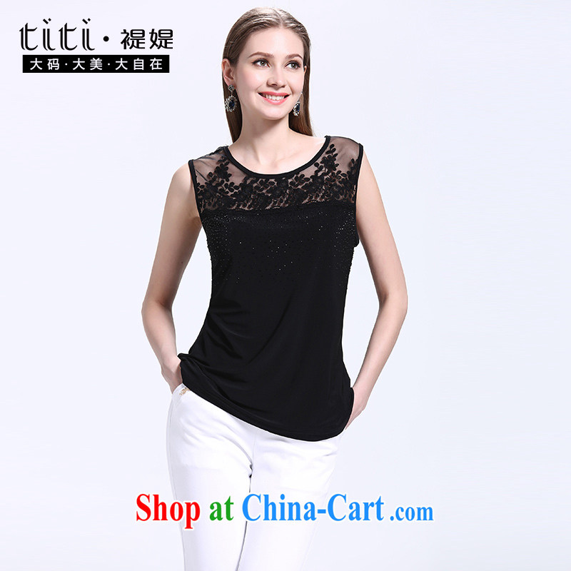 ? kocheril raman narayanan 2015 maximum code female summer sleeveless Openwork lace large code-vest the code female summer black 3 XL