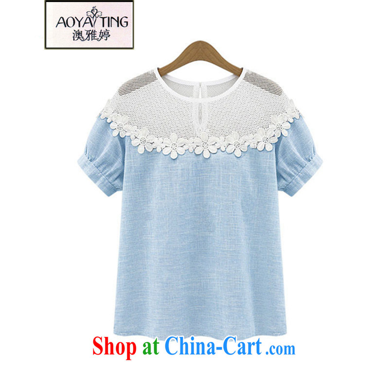 o Ya-ting 2015 summer new and indeed XL women mm thick lace cotton T-shirt loose short sleeve shirt T girl picture color 3XL recommends that you 145 - 165 jack