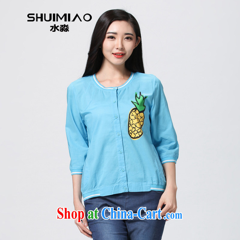 Water with the Code women summer 2015 new commuter Korean mm thick, thin cardigan T pension S XJ 15 4777 sky XXL