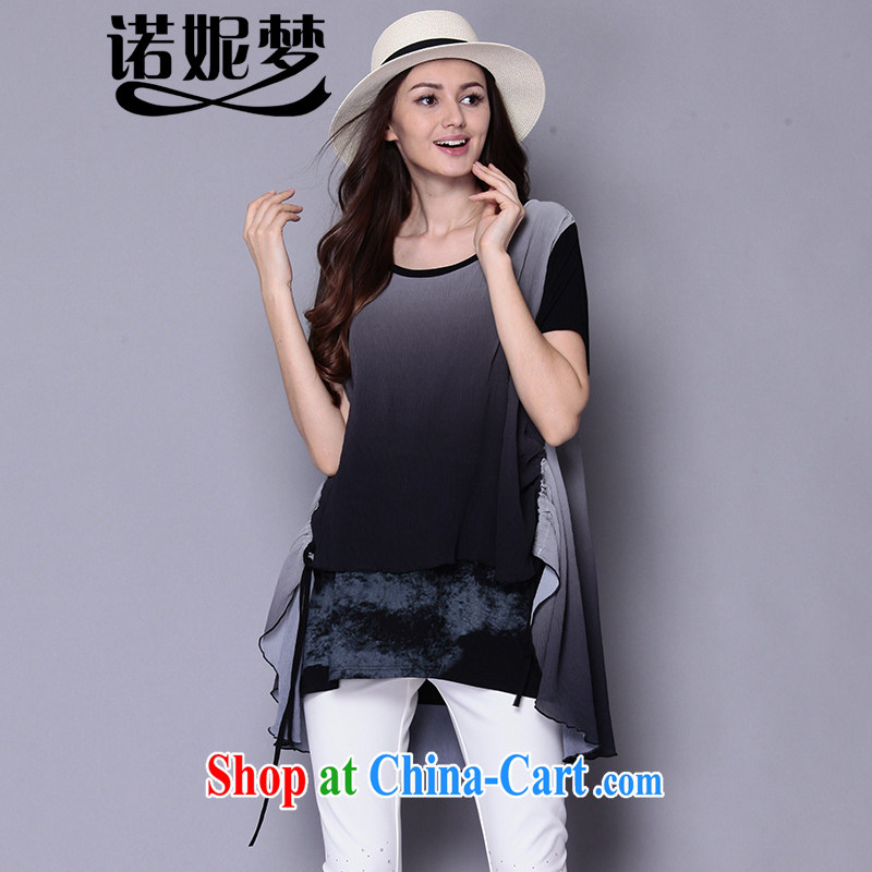 Connie's dream in Europe original larger female summer 2015 new thick mm stylish stitching loose video thin short-sleeved dresses J 217 black XXXXXL