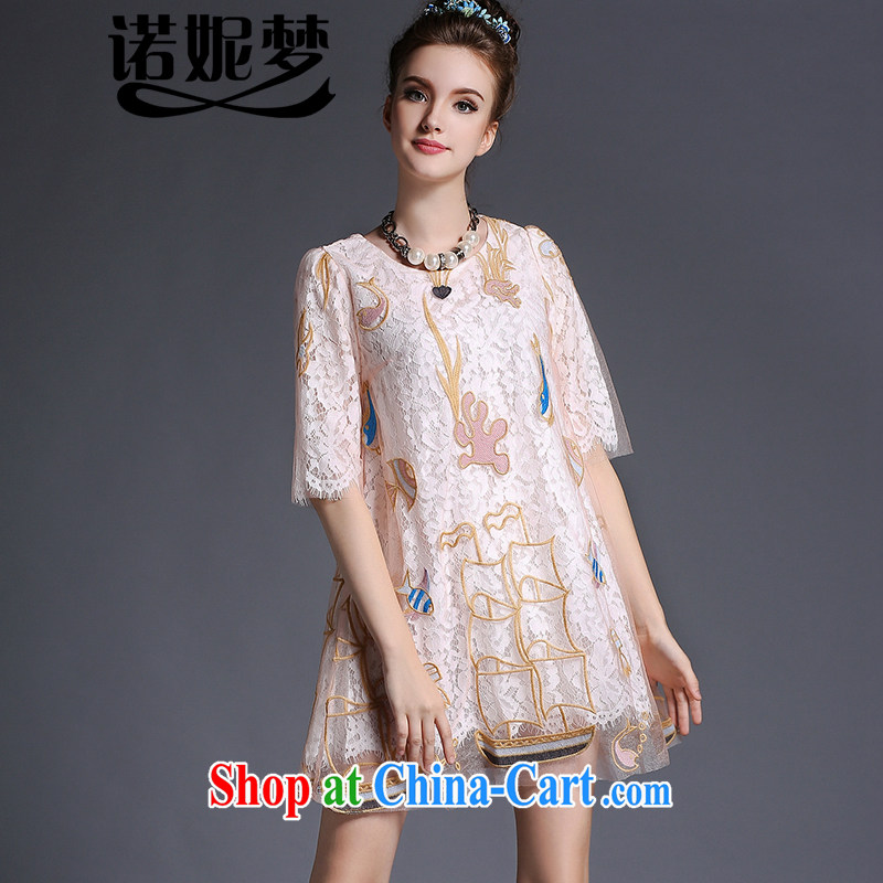 The Connie was a high-end European and American original and indeed XL ladies 200 Jack 2015 summer new elegant web yarn embroidery, cuff lace dresses G 682 pink XXXXXL