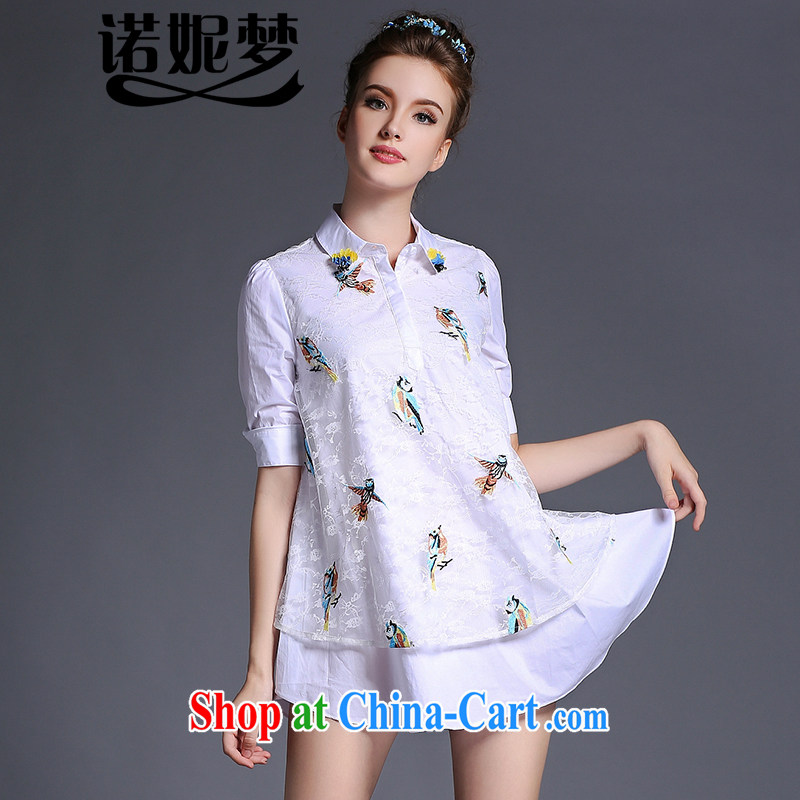 Connie's dream high-end original in Europe and America, the ladies' summer 2015 New pearl flower lapel embroidered short sleeves shirt dress elegant lace spell back dress G 658 white XXXXXL