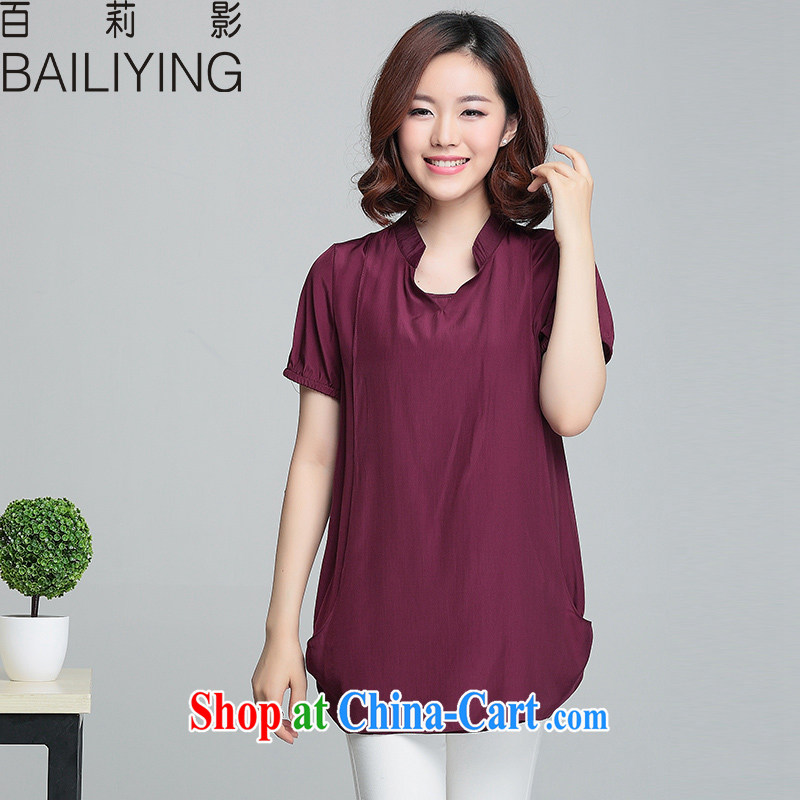 100 Li film mm thick 2015 summer video thin loose short-sleeve T shirts and indeed increase, female small V for snow-woven shirts wine red 4-XL - recommendations 155 - 175 jack