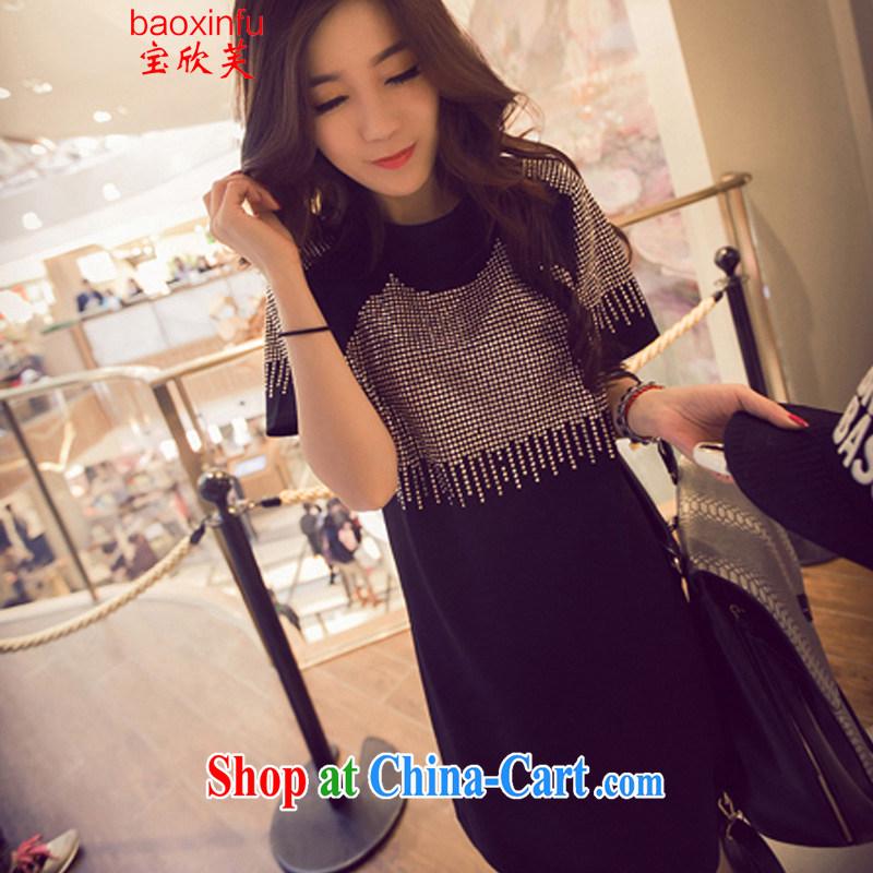 2015 Baoxinfu Korean American stream, hot short-sleeve larger thick MM dresses girls in long T shirt 5126 black (parquet drilling) XXXL (160 - 200 ) jack