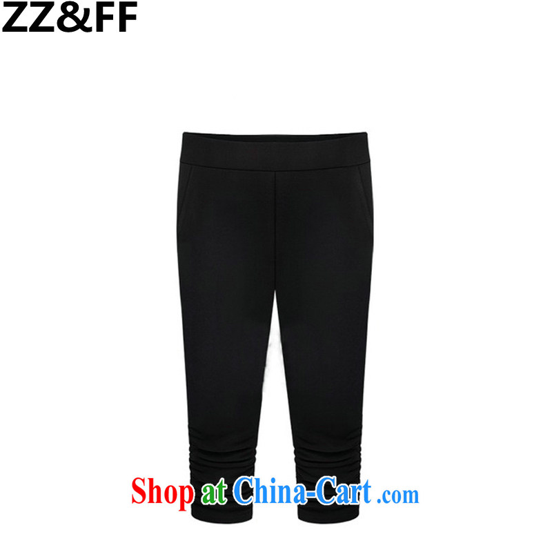 ZZ _FF 2015 new European site the Code women summer thick MM stretch Elastic waist 7 pants female black XXXXXL