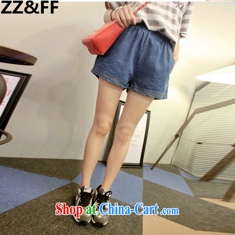 ZZ _FF 2015 new Korean leisure larger female thick MM elasticated waist warranty and summer shorts hot pants girl dark blue XXXXXL