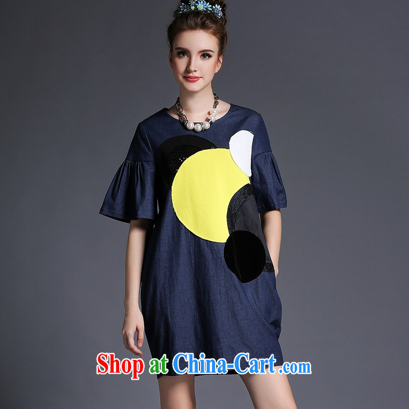 denim dress 200 jack and ventricular hypertrophy, female 2015 summer new mm thick loose yellow XL _62 - 67 _ KG