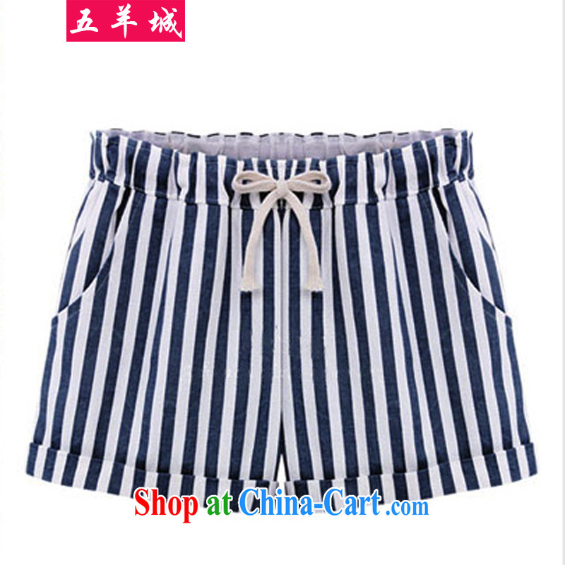 Five Rams City The Code shorts girls summer thick sister summer graphics thin striped pants thick people graphics thin large code female leisure elasticated waist hot pants 224 dark blue 5 XL recommendations 180 - 200 about Jack