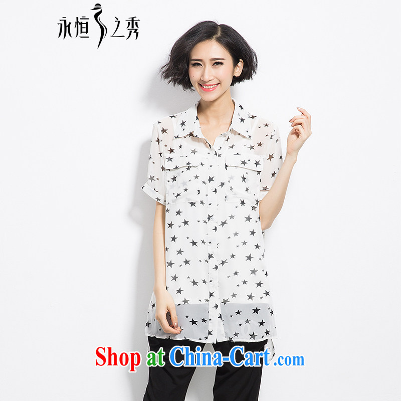 Eternal show the code women snow woven shirts thick sister 2015 summer new thick mm thick, graphics thin, the fat XL Stars stamp loose shirt white 3XL