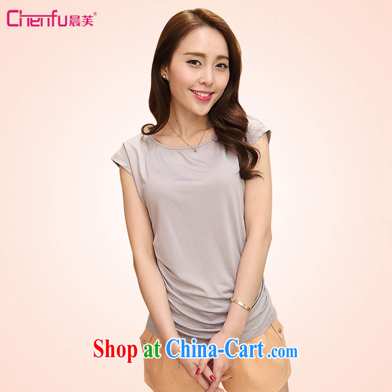 Morning would be 2015 summer new and indeed XL women mm thick 100 cultivating ground graphics thin round-collar solid color shirt T aura milk Silk Knitting T-shirt light gray 5 XL