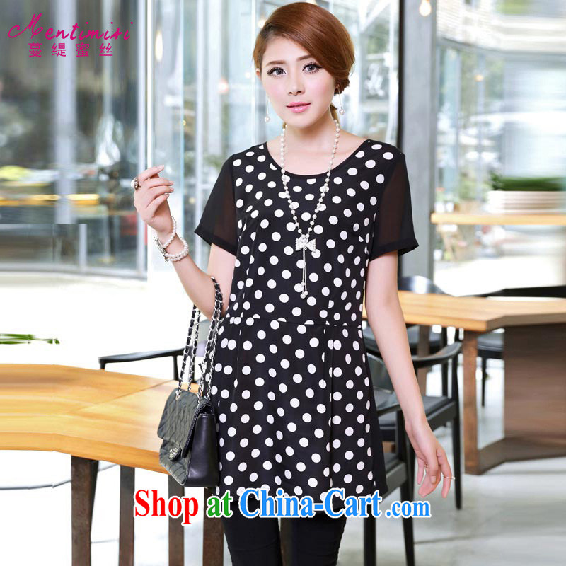 Mephidross economy honey, XL video thin woman with thick mm summer new 2015 Korean mother load snow woven graphics thin waves, short-sleeved dress 2652 black 5 XL _180 - 200 _ jack