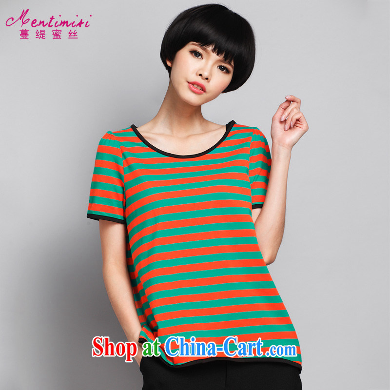 Mephidross economy honey, summer 2015 new bubble cuff short sleeves larger female streaks T shirt T-shirt cotton S 1640 photo color XXXL