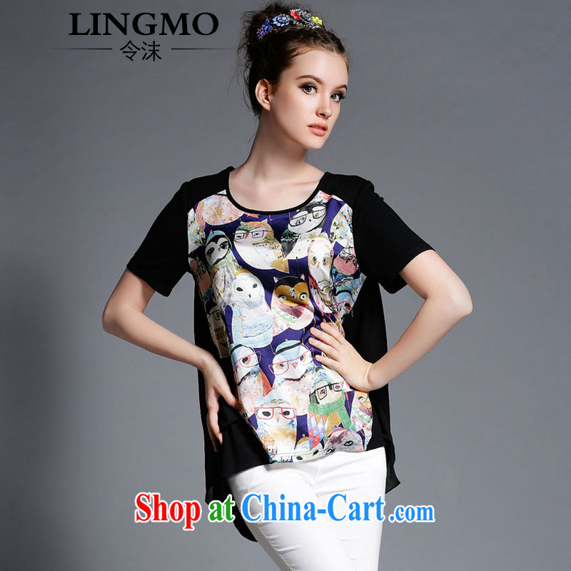 The spray snow-woven shirts female short-sleeved Western big wind summer maximum code female owl stamp does not rule graphics thin girls T-shirt black owl 4 XL recommendations 163 - 175 jack