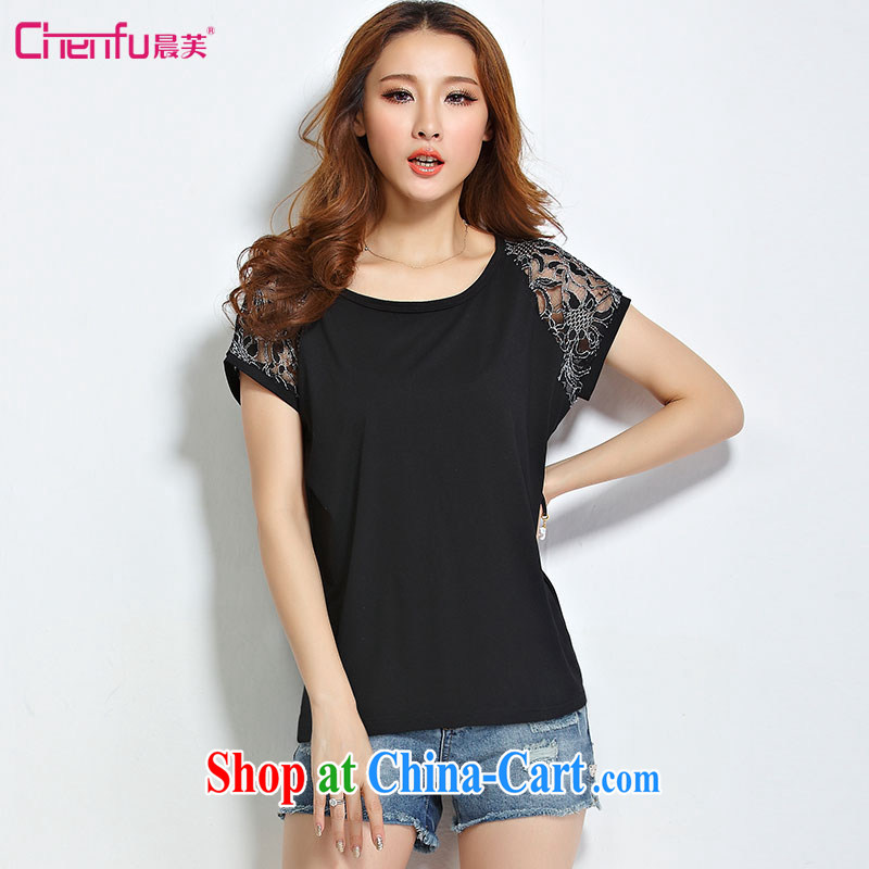 Morning would be 2015 summer new Korea and indeed XL women mm thick 100 cultivating ground graphics thin round-collar bat sleeves lace stitching T shirt T-shirt black 5 XL