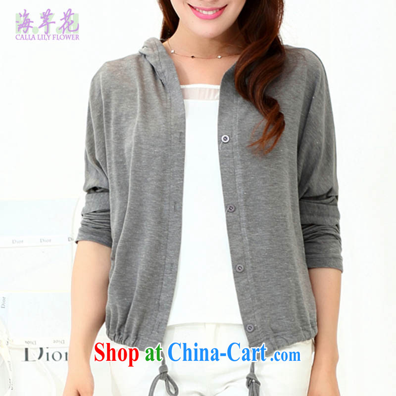 The line takes the Code women 2015 spring new leisure edition cap long-sleeved short cardigan loose jacket sunscreen shirts 5 C 2786 dark gray 3 XL