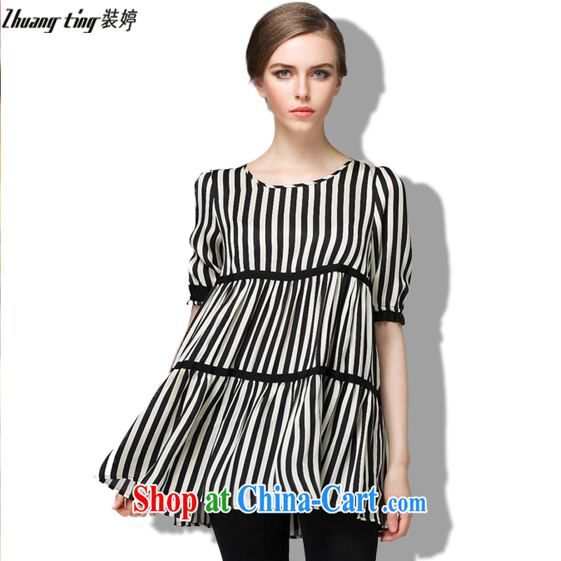 Replace-ting zhuangting 2015 spring new high-end European and American thick mm maximum code female and indeed increase short-sleeved snow woven shirts 1520 black streaks on 5 XL