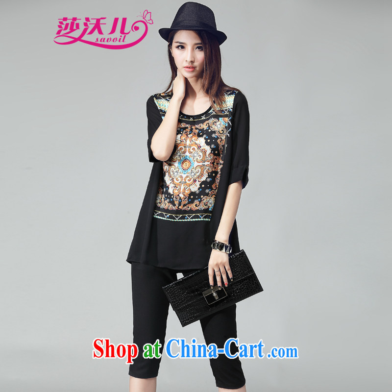 Elizabeth's Kosovo savoil larger female summer is indeed the more stylish stamp snow woven shirts beauty package female trousers V 8005 black 4XL recommendations 160 - 175 jack
