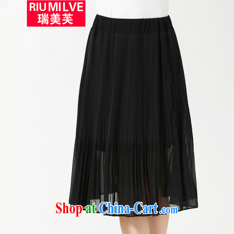 and the United States, would the code female summer new emphasis on cultivating mm video thin large skirt 2015 Europe the solid-colored snow woven 100 hem body skirt black 5 XL