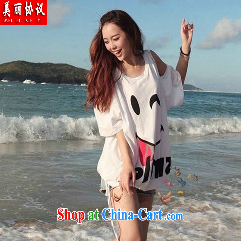 Beautiful agreement summer 2015 with new Korean women loose the code a short-sleeved shirt T 200 jack to wear thick MM dresses SJL 9920 white are code