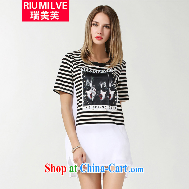Ryan and the United States concluded the 2015 is indeed increasing, female summer new thick mm video thin stylish staples in Pearl River Delta Region, long black and white striped shirt T girls T-shirt 3613 black-and-white stripes 3 XL