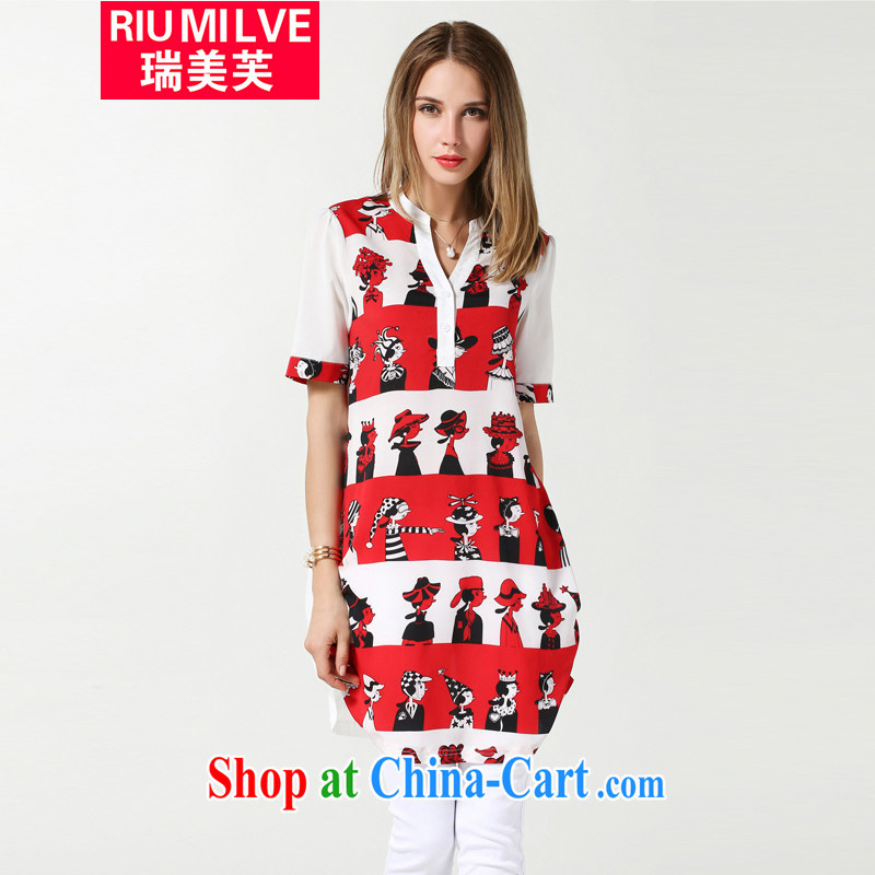 Ryan and the United States concluded the Code women 2015 summer new thick mm video thin short-sleeved stamp snow T woven shirts, long, relaxed casual female T-shirt N 3615 red 3 XL