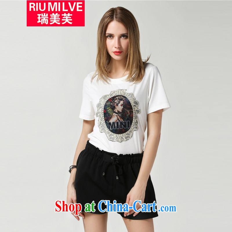 and the United States, would the Code women summer 2015 New American retro pattern stamp short-sleeve cotton T-shirt thick mm loose female T-shirt N 3616 white 2XL